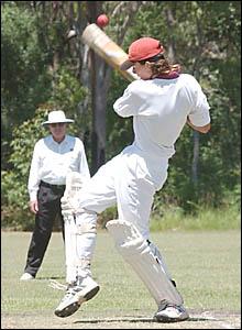 HEFTY HITTING: South Services batsman Matt Kroehnert