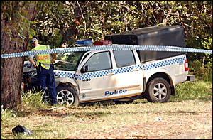 A police paddy wagon comes to rest after crashing into a tree on the side of the Pacific Highway at Nambucca Heads