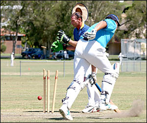 GOT ?YA: Harwood Stingrays Wicketkeeper Brian Elvery stumps Woodford Warrior David Anderson during the sixes tournament.