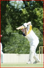 Randall Hart straight drives in last week?s one-day cricket final at Heritage Oval. Picture: NEVILLE MADSEN