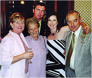 From left, Louise Mills? mother Judith, grandmother Val Philp, Louise and her father Mark, with Craig Jeffery at the rear.