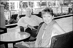 GREEN LIGHT: Byron at Byron managers, John and Lyn Parche, at the resort yesterday.