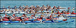 The field sets out for the start of the Master men/senior Master men?s race on the weekend