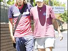 STILL WAITING: Brother and sister, Tobias and Katrin Suckfuell, are pictured leaving the Lismore Police Station yesterday.