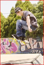 Lewis Barton loves to ride his skateboard and meet his mates at the Chalk Drive skate bowl. Picture: NEVILLE MADSEN?