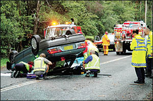 A man died in this accident on Bucca Road west of the Pacific Highway yesterday morning. Photo: BRUCE THOMAS 05021901A