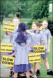 NO DUMMIES: St Joseph?s school students get up close and personal with the dummies designed to help improve road safety.