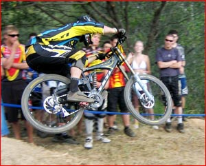 Jarod Graves flies high on his way to second place in a round of the National Mountain Bike series. Picture: SUPPLIED