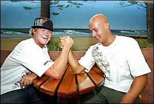 SAMBA Mann and Shaun Gossmann tested their friendship with a good old fashioned arm wrestle yesterday