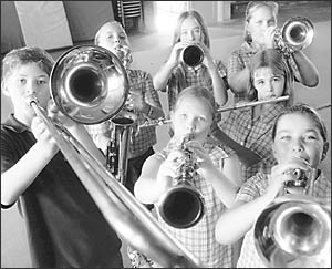 BRASSED OFF: South Lismore Primary School students.