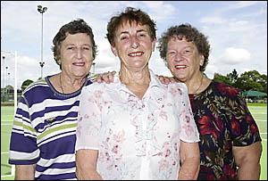 New Lismore Netball life member Joan Savins is congratulated by fellow life members Marie Mackney and Joan Bird.