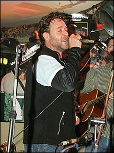 Only in Coffs Harbour . . . Russell Crowe steams up the first Friday of the month at the Irish Night.