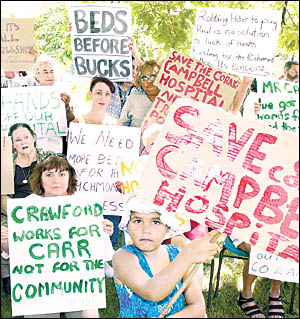 OPERATION PROTEST: Four-year-old Chaeanne Daley, from Coraki, with her grandmother Marion Daley, centre rear, at the protest