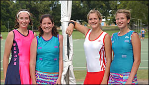 TOP TALENT: Marley Simmons, left, Ashleigh Walls, Lauren Wright, and Hannah Mears are in the NCAS netball program