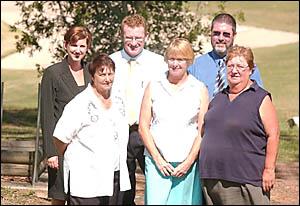 Back: Roxanne and Adam Sydneyham, Tony Everingham.Front: Marie Keynes, Jan Patterson and Lillian Cronin