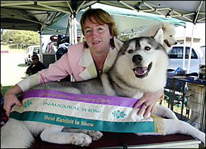 MELISSA Starkey with her six-year-old Siberian husky called Jordan won best in show on Saturday.