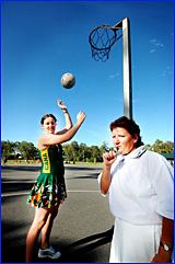 Australian under-17 netball selection Megan Jahnes (left) and umpire Hetty Cochrane