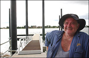 Engineering contractor Ray Scroop takes a break after putting the finishing touches to the South Grafton marina.