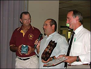 GOOD SPORT: Westlawn opening batsman Shaun Ulrick, centre, is the winner of the umpires? inaugural sportsmanship award.