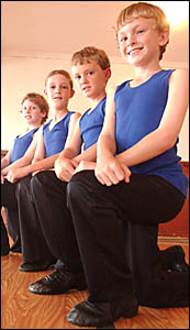 From left, Nicholas Maguire, Tim Riddell, Joel Clare and Matthew Crawford at the Studio 1 Academy of Dance.