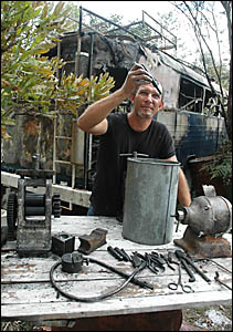 Jeramie Carter?s tools of the trade are damaged or melted after a fire raced through his jewellery studio on Tuesday