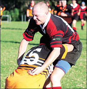 Andrew Rennger produced some solid defence in Coffs Rugby?s win over Kempsey Cannonballs in the opening round.