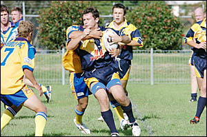 Luke Campbell takes the ball up for Marist Brothers against Mullumbimby last Sunday.
