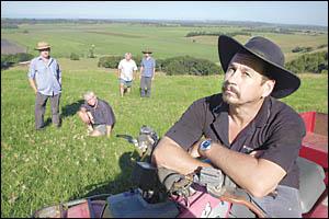 Local farmers, from left, David Kanaley, Ken Dorey, John Pick, Craig Simpson and Geoff Dorey.