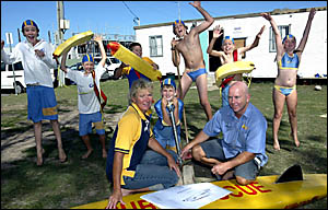 EXCITED about the prospect of a new clubhouse on the way are members of the Cabraita Beach Surf Life Saving Club.