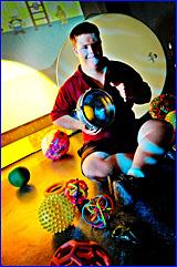 Rosella Park School student Chris Hayden makes use of the new multi sensory room