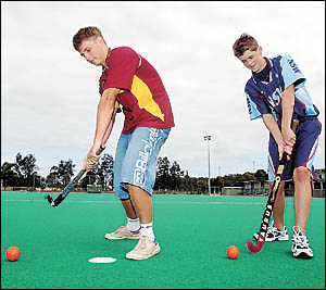 Coffs Harbour?s NSW Country hockey representatives, Heath Edwards, left, and Matthew Harmon. Photo: CHRISRIX 05042232A