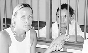 Jodie Power-Ripley, left, of Byron Bay, with accused drug smuggler Schapelle Corby at her Balinese jail cell.