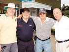 Rod Coe (from left), Gary Gilbert, Tommy Raudonikis and  Terry Hemming got in the swing yesterday.