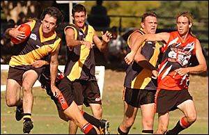 TENSION: Grafton and Sawtell players show intensity at Ellem Oval on Saturday.