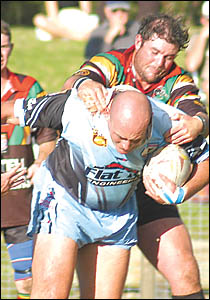 Comets prop Russell Boyns does his best to make a dent in the Macksville defence during his team?s win at Advocate Park.