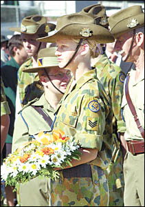 Australian Army cadet, Ellouise Hagan, had the honour of laying a wreath at the Anzac Day celebrations in Lismore yesterday.
