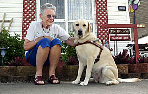 ENJOYING new-found freedom thanks to her guide dog and new best friend Scully, is Piggabean senior Freda Wilcock.