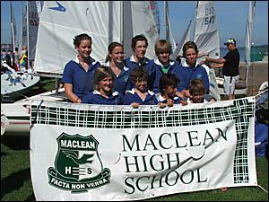TOP SAILORS: The Big River Sailing Club contingent, sailing for Maclean High School, at the CHS regatta at Belmont.