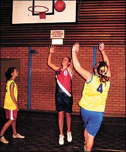 Bellingen basketballers, from left, Nikki McNamara, Rachel Hoy and Kayla Shepherd in training for the new competition.
