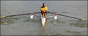 Veteran rower Greg Thompson gives the new ?training wheels? for rowers ? the new Easy Row stabilising system ? a try-out on the