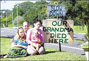GENERATIONS MOURN: Grandchildren of the late Leila Packham, from left, Shannon Packham of Sydney, Jamie Threlfall of Maitland,