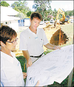 PLANNING STRATEGY: Examining the plans for the buildings? upgrade at St John?s School, Mullumbimby, is the principal Therese Se