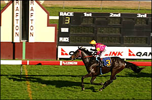 INTHECLEAR: Timesto races home to win the 15th Brushgrove Cup at Grafton on Saturdayfrom Frisco?s Deed and Chin Emperor.Photo: