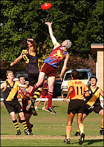 FLYINGHIGH:Action from the Grafton Tigers first win against the Nambucca Lions on Saturday.Photo: AMBERTOMS.