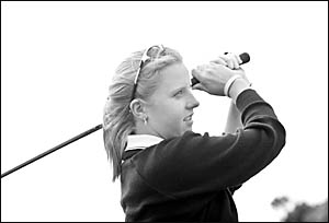Coffs Harbour golf talent Emma de Groot hones her technique during one of her many practice sessions.