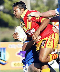 Bert Gray on the charge for Coffs Harbour against Macksville.