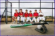 Gladstone softballers (from left) Paul Condren, Matt Rowe, Matt Trotter, Trevor Youngberg, Dyllan Chapman and Ashleigh Gibbs