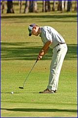 BITS member Rob Barnes putts at Sunday?s Miriam Vale men?s golf.open.