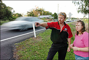 David and Debbie Webster ouside their house on the Pacific Highway, Broadwater, where they have helped motorists involved in nu