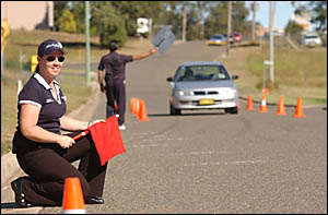 TESTING TIME: Quality Driver Education instructor Linda Standing, of Taree, puts one of her charges through their paces.
